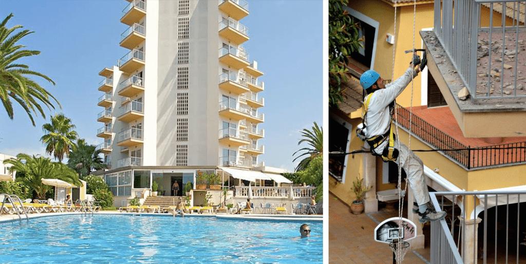 Habitaciones, fachada y balcones en HOTEL VISTA ODÍN